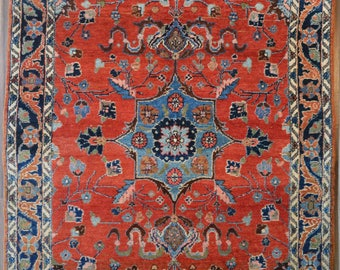 SALE Fine Vintage Persian Lilihan Rug // 4x6 // Red & Blue // Free Shipping