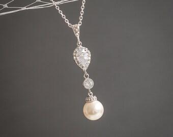 Swarovski Pearl Bridal Necklace, Crystal Wedding Necklace, Cubic Zirconia Pendant Necklace, Sterling Silver Necklace, Bridal Jewelry, CHERYL