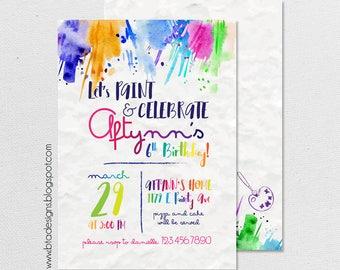 Paint Birthday Party Invitation 1, Art Birthday Party, Paint & Celebrate, Customized, Digital File