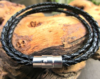 Leather Bracelet, Men's Bracelet, Gift for Men, Braided Leather Bracelet, Magnetic Clasp, Black or Brown Triple Wrap Braclet