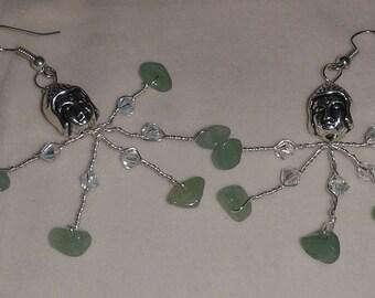 Jade and crystal earrings Swarovski