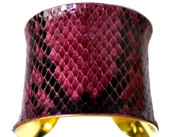 Gold Metal Cuff Bracelet Plum Purple Snakeskin  - by UNEARTHED