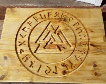 Carved Valknut and Runes altar tile, wall decoration