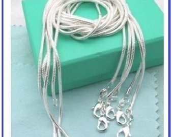 LONG NECKLACE Silver 925 / 1000 - chain 60 cm snake clasp - genuine - jewelry gift, gift idea for woman