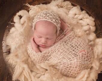 Newborn Girl Knit Bonnet ,Off White Baby Girl Bonnet ,Newborn Knit Lace Bonnet , Baby Girl Knit Beige Hat