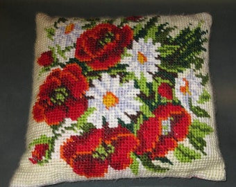 Embroidered Pillow with flowers