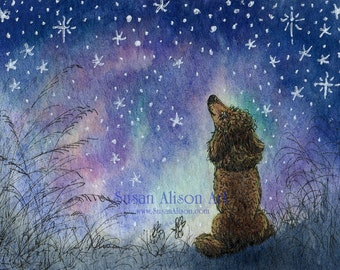 Poodle dog 5x7 8x10 11x14 art print looking for inspiration in the stars heavens above starry night from watercolour painting Susan Alison