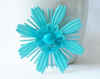 Large Vintage Blue Enamel Flower Brooch, Blue Flower Pin