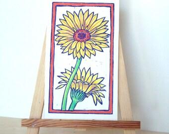 Gänseblümchen-Druck - 7.5x4. Lila. Linoleum Drucke Wand Kunst Hand farbige Hand Linoldruck Flower Print Block Drucke handgemachte Geschenke