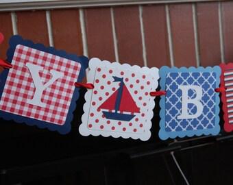 Sailboat Happy Birthday Banner, Nautical Birthday Banner, Navy Red White Blue