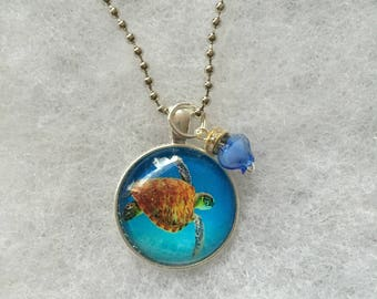 Handmade Blue Turtle Necklace with Blue charm