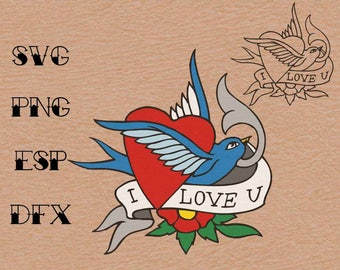 Old school Tattoo  Swallow heart I love you , SVG,vector,clipart,