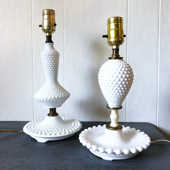 vintage table lamp - white hobnail milk glass - bedside lamp - accent lighting - farmhouse cottage shabby style
