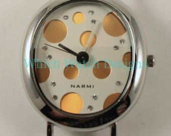 Bubble.. Rectangle or Oval Polka-Dot Solid Bar, Interchangeable Ribbon Watch Face