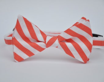 Boy's Bow Tie Coral and White Striped Bowtie for Toddler Baby Boy