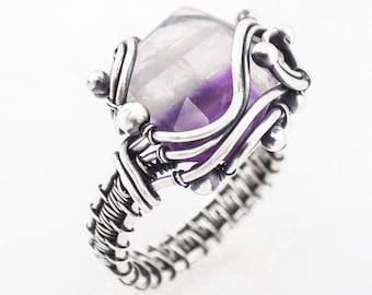 Amethyst Wire Wrap Ring,  Fine Silver, Sterling, artisan jewelry, February birthstone, one of a kind jewelry, statement ring