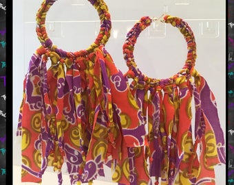 Big hoop earrings,fabric big earrings,wrap hoop earrings,statement earrings,gypsy earrings,hippie earrings,boho earrings,chic earrings