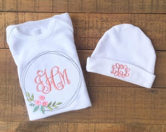 Baby Girl Clothes - Baby Girl Outfit - Personalized Baby Blanket - Baby Blanket - Newborn Girl Baby Blanket - Monogram Baby Blanket Baby Hat