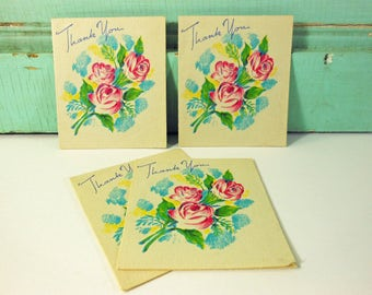 Four Vintage Doubl-Glo Thank You Cards with Embossed Roses, Unused Notecards