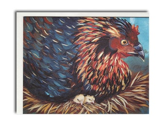 Hen with Chicks Notecards - Chicken Cards - Farm Animal Stationery