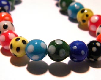 5 - 8 mm - Lampwork Murano glass bead is hand-multicolored-G33-2