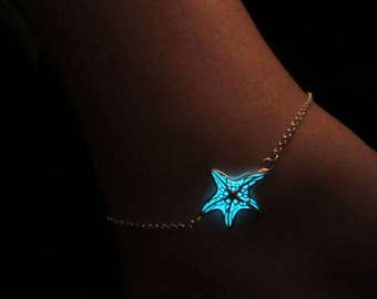 Starfish anklet glow in the dark // sterling silver