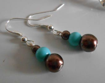 Wedding earrings authentic Brown and turquoise beads