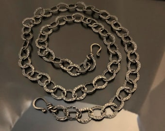 HEAVY Silver chain,  statement silver chain, 26 inches chain, 10mm link chain, oxidized silver chain with two hook clasps, versatile chain