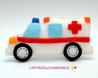 Felt AMBULANCE , stuffed felt Ambulance car magnet or ornament, Car toy, Technics, Vehicles, Nursery decor,Car magnet,kids toy,Car, Toy