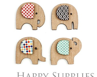 4 set (CWM22) DIY Laser Cut Wooden Elephant Charms / Pendants  (Not Finished Product)