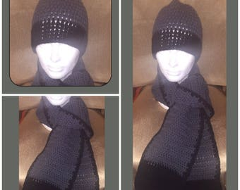 Mens Beannie Hat and Scarf Set Grey and Black