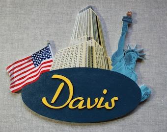 New York - choose name door plaque