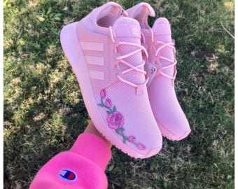 Stitched Rose Adidas, Custom sneakers, adidas shoes, adidas, rose embroidered adidas, adidas nmd, custom adidas nmd, adidas original,