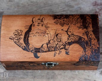 box, wooden box, jewelry box, engraved wooden box, custom box, keepsake box, casket, totoro, my neighbor totoro, anime, miyazaki, ghibli