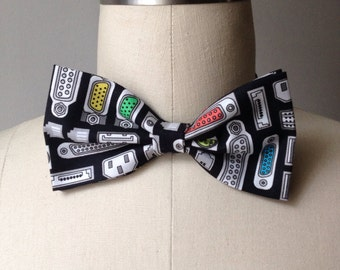 Black Computer Power Socket bow tie, Outlet, Mens bowtie
