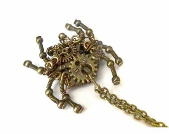 Steampunk, spider necklace