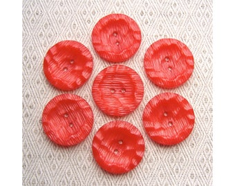 Glistening Red Buttons, 28mm 1-1/8 inch - Strawberry Red Sew-Through Buttons - 7 VTG NOS Rustic Red Chiseled Plastic Sewing Buttons PL608 bb