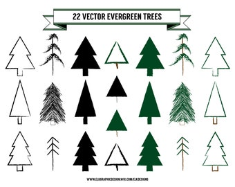 22 Vector Evergreen Trees, Hand-Drawn Tree Clip Art, 300 dpi, 1 EPS, Individualized PNGs