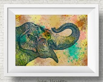 Abstract Elephant Art Print Watercolor Art Print Colorful Home Decor