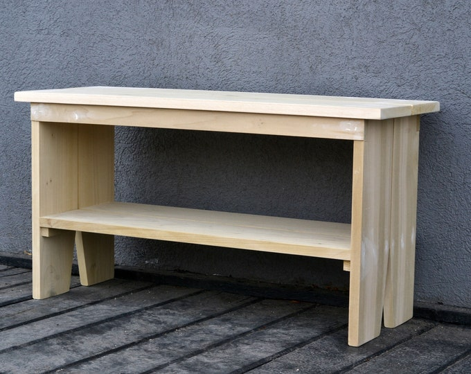 Unpainted Solid Poplar Wooden Bench - Sanded and Ready to Paint -Indoor Cottage Seating Schoolhouse Wood Bench Seat - Handmade Bench