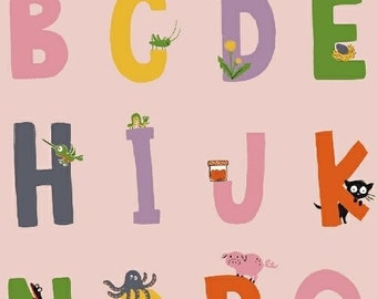 "Windham Fabrics, Alphabet in Pink ""Kinder"" by Heather Ross"