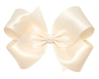 """Ivory Satin Hair Bow, 6 Inch Satin Bow for Flower Girls, Weddings, Cream Ivory King Size Bow, Womens Hair Bow for Girls, 6"""" Bow in 60 Colors"""