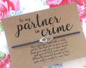 Partners in Crime Wish Bracelet, Best friend Gift, Friendship Bracelet, Wish Bracelet.