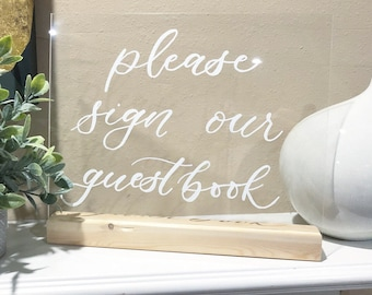 Hand Lettered Acrylic Guestbook Sign