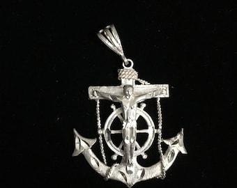 Sterling Silver Nautical Jesus Crucifix .925 Handmade Pendant  55mm (5.5 cm) 8.8 Grams