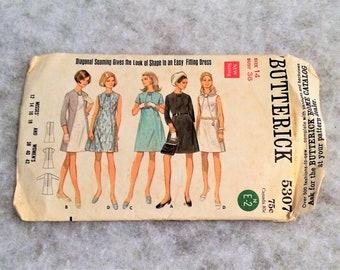 1960s Vintage One Piece Dress Pattern 36 Inch Bust Butterick 5307