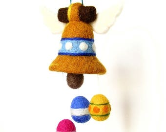 Easter felted decorative figurine Bell. By LaPoissonnerie