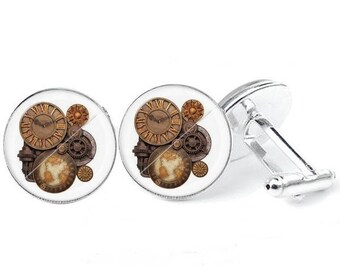 Glass cabochon cuff - links steampunk 4