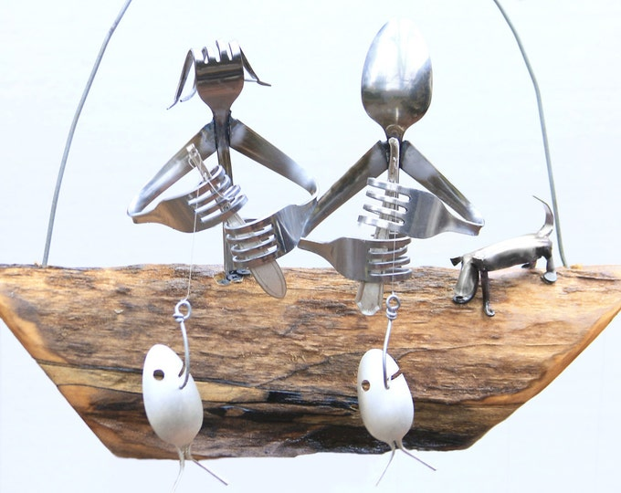 Couple & Dog Fishing, Silverware Wind Chime, Silverplate Spoon Flatware Fish, Windchimes, Gift For Parents / Grandparents, Best Friend Gifts