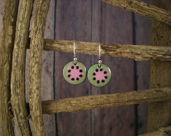 Green Dot Enamel earrings with Black Dots and Sterling Silver earwires